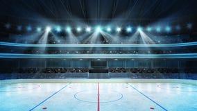 O estádio do hóquei com fãs aglomera-se e uma pista de gelo vazia
