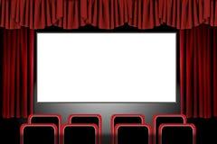 O estágio vermelho drapeja em um ajuste do teatro de filme: Illus ilustração do vetor