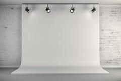 o estúdio 3d setup com fundo da lona e luzes de teto Imagens de Stock Royalty Free