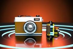 o estúdio da rendição 3d gravou da câmera retro do vintage com filmes de rolo Imagens de Stock Royalty Free