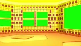 O estúdio de transmissão virtual com área de tela verde O movimento da câmera é incluído ilustração royalty free