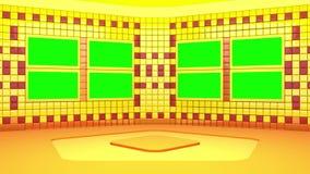 O estúdio de transmissão virtual com área de tela verde O movimento da câmera é incluído ilustração do vetor