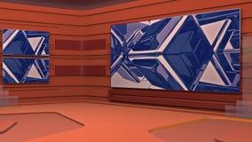 O estúdio de transmissão virtual com dar laços no vídeo abstrato da metragem e na área de tela verde O movimento da câmera é incl ilustração royalty free