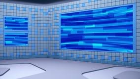 O estúdio de transmissão virtual com dar laços no vídeo abstrato da metragem e na área de tela verde O movimento da câmera é incl ilustração do vetor