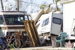 O estacionamento de caravanas destruído após o furacão Irma bate o Florida imagens de stock royalty free