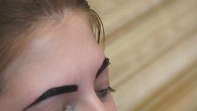 O esteticista executa a corre??o da sobrancelha para uma jovem mulher video estoque