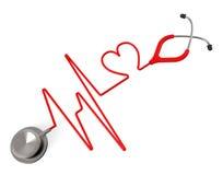 O estetoscópio do coração indica o exame médico completo e a afeição ilustração do vetor