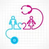O estetoscópio faz o símbolo do homem, da fêmea e do coração Fotografia de Stock