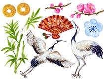 O estilo asiático do guache da aquarela e os elementos japoneses chineses do ano novo entregam a pintura ilustração royalty free