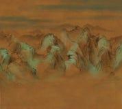 O estilo asiático pintado Digital da caligrafia das montanhas ajardina ilustração do vetor
