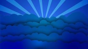 O estilo azul dos desenhos animados nubla-se ondas com raios de giro do sol filme