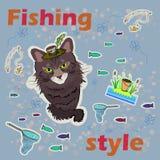 O estilo da pesca Pesca do gato Ilustração do vetor Fotos de Stock Royalty Free