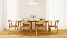 O estilo de madeira da sala de jantar e limpa o projeto - rendição 3D Fotos de Stock