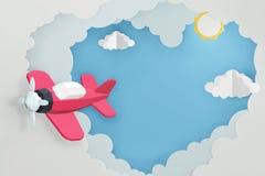 O estilo de papel da arte do coração deu forma à nuvem com voo plano cor-de-rosa no céu, projeto da rendição 3D foto de stock