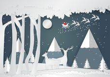 O estilo de papel, o floco de neve e os cervos da arte para o Natal temperam, Vector a ilustração do Feliz Natal Fotografia de Stock Royalty Free