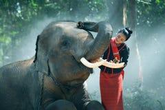 O estilo do nordeste da mulher tailandesa nova bonita ? apreciar dan?ar e jogar com o elefante na selva imagem de stock