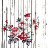 O estilo do vintage da tapeçaria floresce o teste padrão da tela em de madeira Imagens de Stock Royalty Free