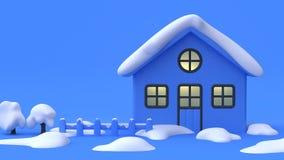 O estilo dos desenhos animados do sumário de três árvores com fundo azul 3d da cena azul da neve rende o conceito do inverno da n ilustração stock