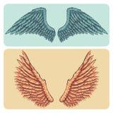 O estilo dos desenhos animados mergulhou a ilustração do vetor ajustada - as asas coloridas brilhantes naturalistas da propagação ilustração stock