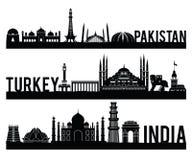 O estilo famoso da silhueta do marco da Índia de Paquistão Turquia com projeto clássico preto e branco da cor inclui pelo nome de ilustração stock