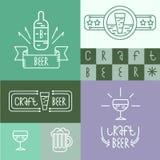 O estilo linear da cerveja e da cervejaria do ofício projeta elementos para fabricar cerveja Fotografia de Stock Royalty Free