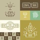 O estilo linear da cerveja e da cervejaria do ofício projeta elementos para fabricar cerveja Fotos de Stock