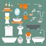 O estilo liso do banheiro e do toalete vector os ícones isolados no fundo Imagens de Stock Royalty Free