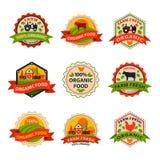 O estilo liso do molde saudável do logotipo da etiqueta do alimento do bio eco orgânico e o vegetariano do vintage cultivam o ele ilustração do vetor