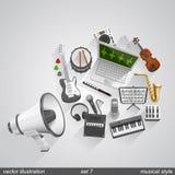 O estilo musical do megafone ajustou 7 Imagem de Stock Royalty Free