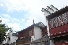 O estilo qing da dinastia da arquitetura de madeira em shenzhen Imagem de Stock