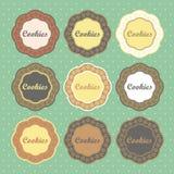 O estilo retro das cookies etiqueta a coleção Fotos de Stock Royalty Free
