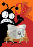 O estrangeiro invade o jornal da cidade ilustração stock