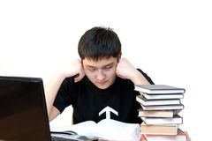 O estudante é perdido na meditação fotografia de stock royalty free
