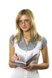 O estudante com um caderno Fotos de Stock