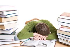 O estudante de sono com os livros isolados Imagem de Stock