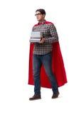 O estudante do super-herói com os livros isolados no branco Imagens de Stock