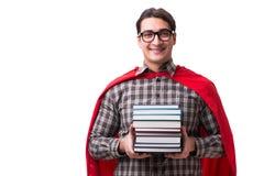 O estudante do super-herói com os livros isolados no branco Imagem de Stock