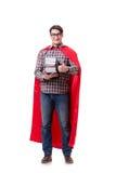 O estudante do super-herói com os livros isolados no branco Imagem de Stock Royalty Free