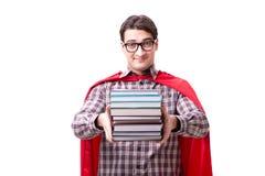 O estudante do super-herói com os livros isolados no branco Imagens de Stock Royalty Free
