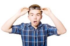 O estudante engraçado isolado no branco Imagem de Stock Royalty Free