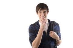 O estudante feliz ponders foto de stock royalty free