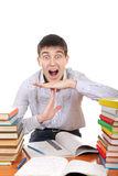 O estudante mostra o gesto do intervalo Imagem de Stock Royalty Free