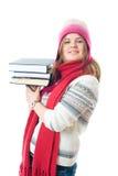 O estudante novo com os livros Imagens de Stock