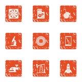 O estudo de ícones do combustível ajustou-se, estilo do grunge ilustração royalty free