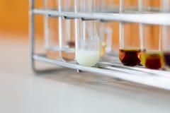 O estudo que separa pela filtragem as subst?ncias componentes da mistura l?quida imagens de stock