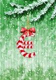 O Euro assina dentro a forma dos doces na árvore de Natal ilustração stock