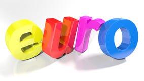 O Euro 3D colorido escreve - a rendição 3D Foto de Stock Royalty Free
