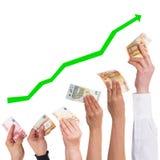 O euro do conceito obtém cada vez mais o artigo de valor Foto de Stock Royalty Free