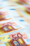 O euro fatura o fundo Foto de Stock Royalty Free