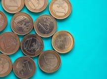 O Euro inventa, União Europeia sobre o azul verde com espaço da cópia Imagem de Stock